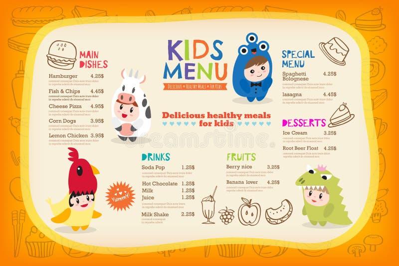 Милый красочный шаблон меню еды детей иллюстрация вектора