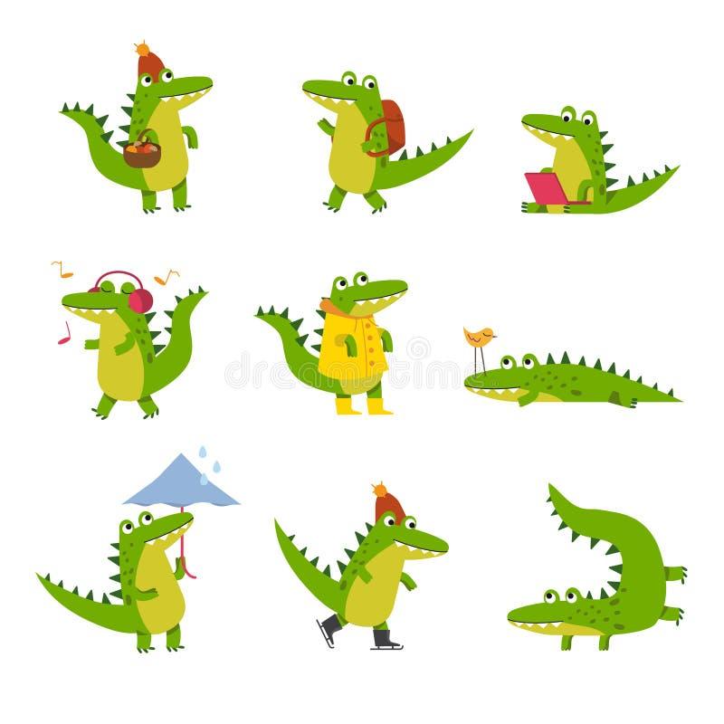 Милый крокодил шаржа в деятельностях при изо дня в день, красочные характеры vector иллюстрации бесплатная иллюстрация
