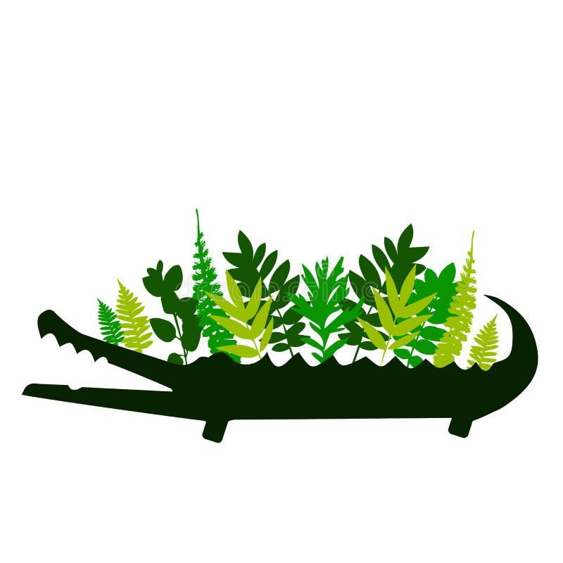 Милый крокодил шаржа в современном геометрическом плоском стиле Простая и прелестная усмехаясь иллюстрация аллигатора иллюстрация вектора
