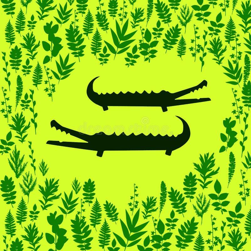 Милый крокодил шаржа в современном геометрическом плоском стиле Простая и прелестная усмехаясь иллюстрация аллигатора бесплатная иллюстрация