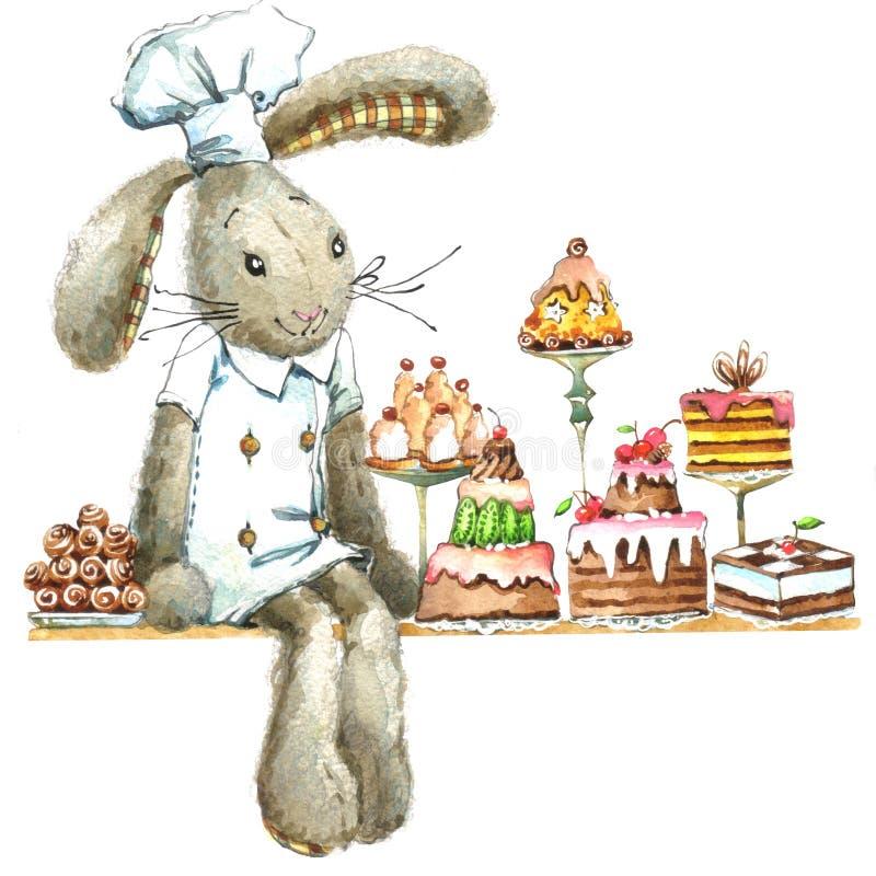 Милый кролик и пирожные Зайчик акварели иллюстрация штока