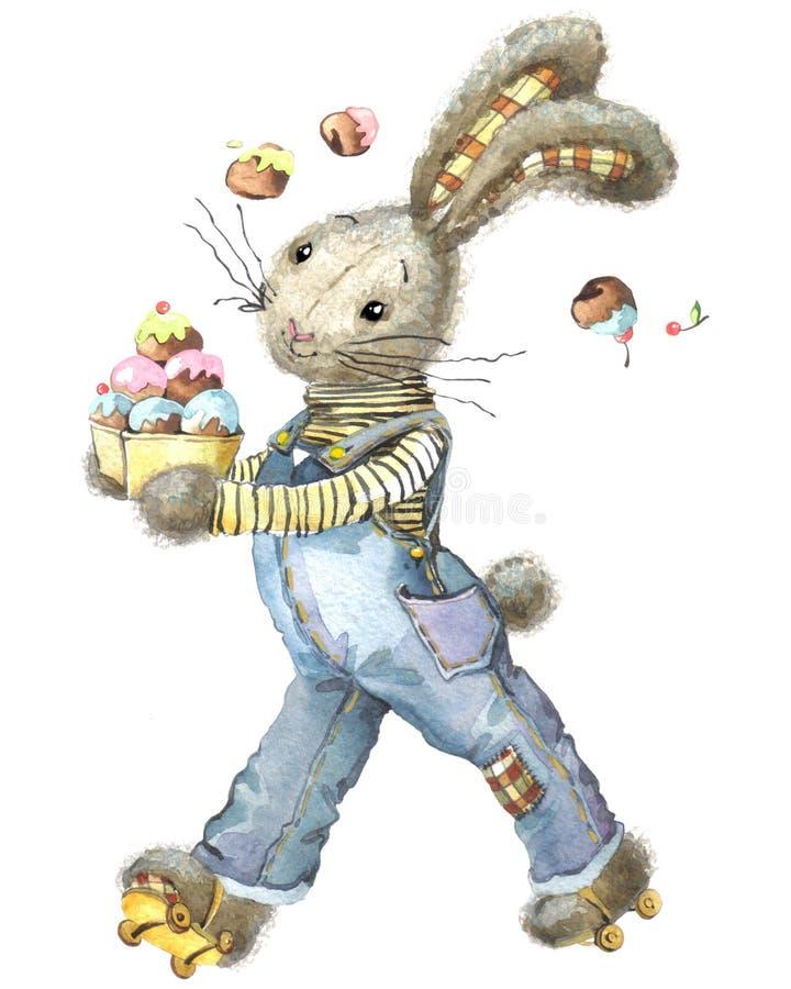Милый кролик и пирожные Зайчик акварели бесплатная иллюстрация