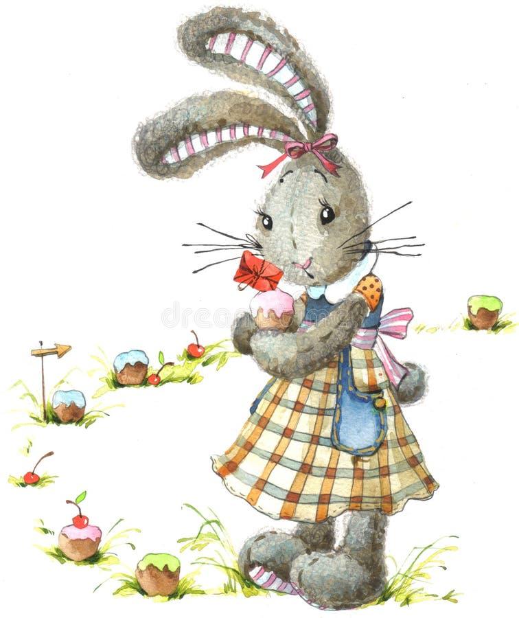 Милый кролик и торт Зайчик акварели иллюстрация штока