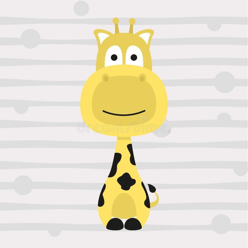 Милый маленький дизайн и плакат футболки детей жирафа иллюстрация вектора
