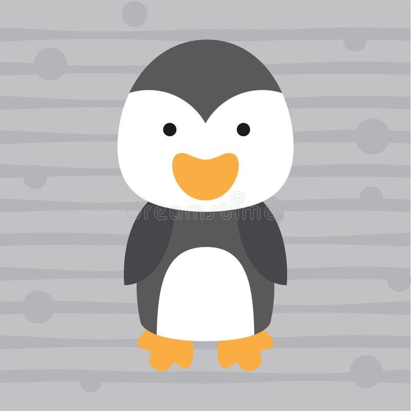 Милый маленький дизайн и плакат футболки детей пингвина бесплатная иллюстрация