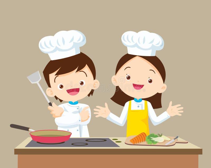 Милый маленький мальчик и девушка шеф-повара бесплатная иллюстрация