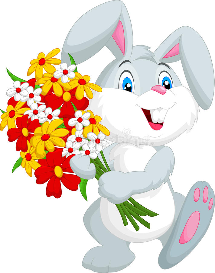 Милый маленький шарж кролика держа букет иллюстрация штока