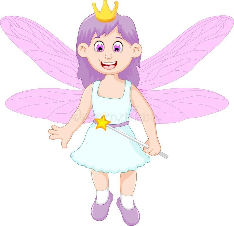 Милый маленький fairy шарж девушки иллюстрация вектора
