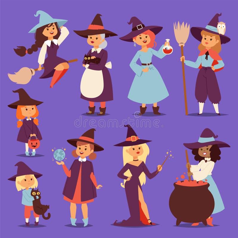 Милый маленький vixen harridan hag ведьмы с котом шаржа веника для печати на маленьких девочках фантазии карточки хеллоуина сумки бесплатная иллюстрация