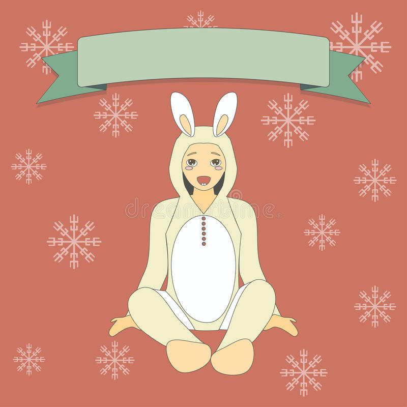 Милый мальчик в костюме кролика иллюстрация вектора