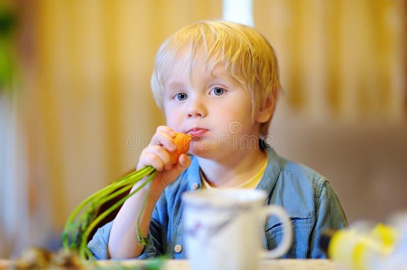 Милый мальчик есть свежую органическую морковь стоковое фото rf
