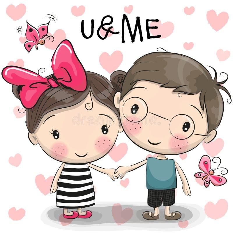 Милый мальчик и девушка шаржа иллюстрация вектора