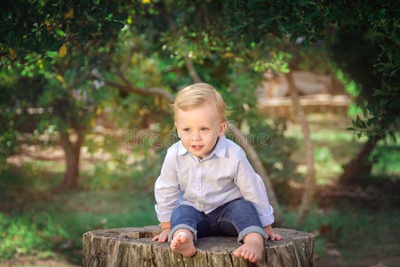 Милый мальчик сидя на пне Выражать позитивность Concep стоковая фотография