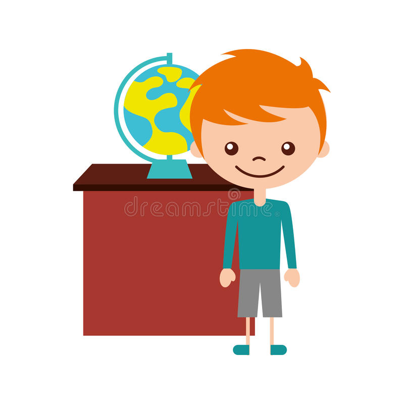 Милый мальчик с значком характера земли планеты бесплатная иллюстрация