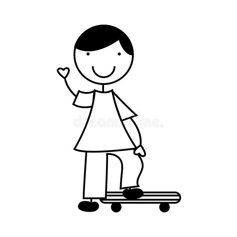 Милый мальчик с характером доски конька бесплатная иллюстрация