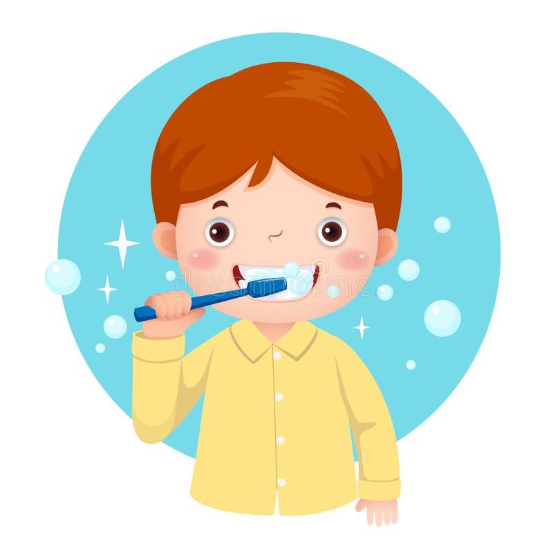 Милый мальчик чистя его зубы щеткой иллюстрация вектора