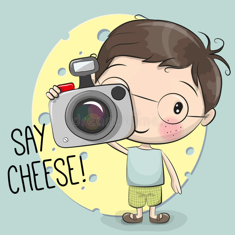 Милый мальчик шаржа с камерой иллюстрация штока