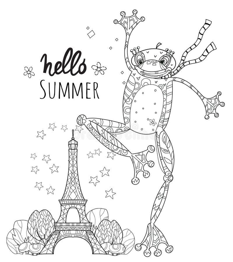 Милый мальчик лягушки в Париже также вектор иллюстрации притяжки corel иллюстрация штока
