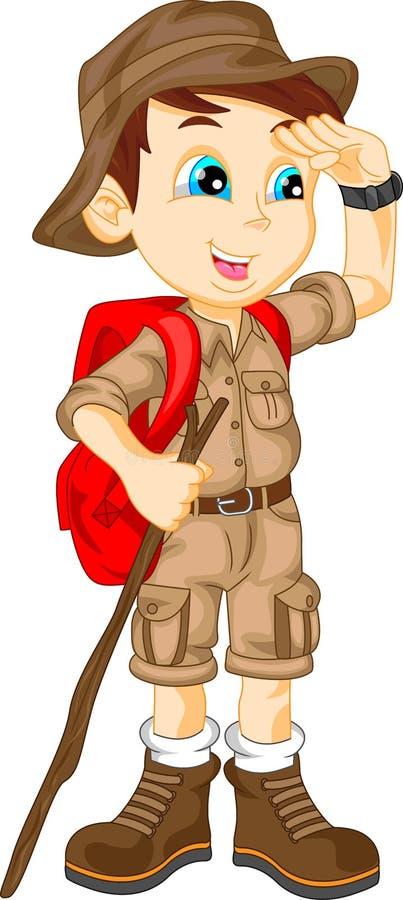 Милый мальчик hiker иллюстрация вектора
