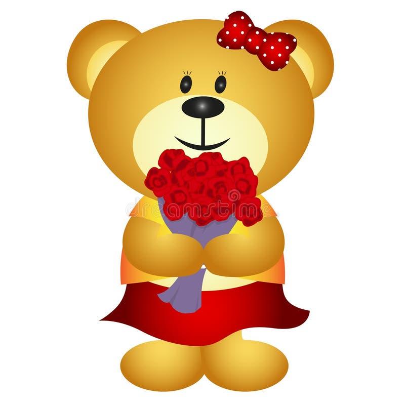Милый медведь девушки шаржа приносит букет цветка иллюстрация вектора