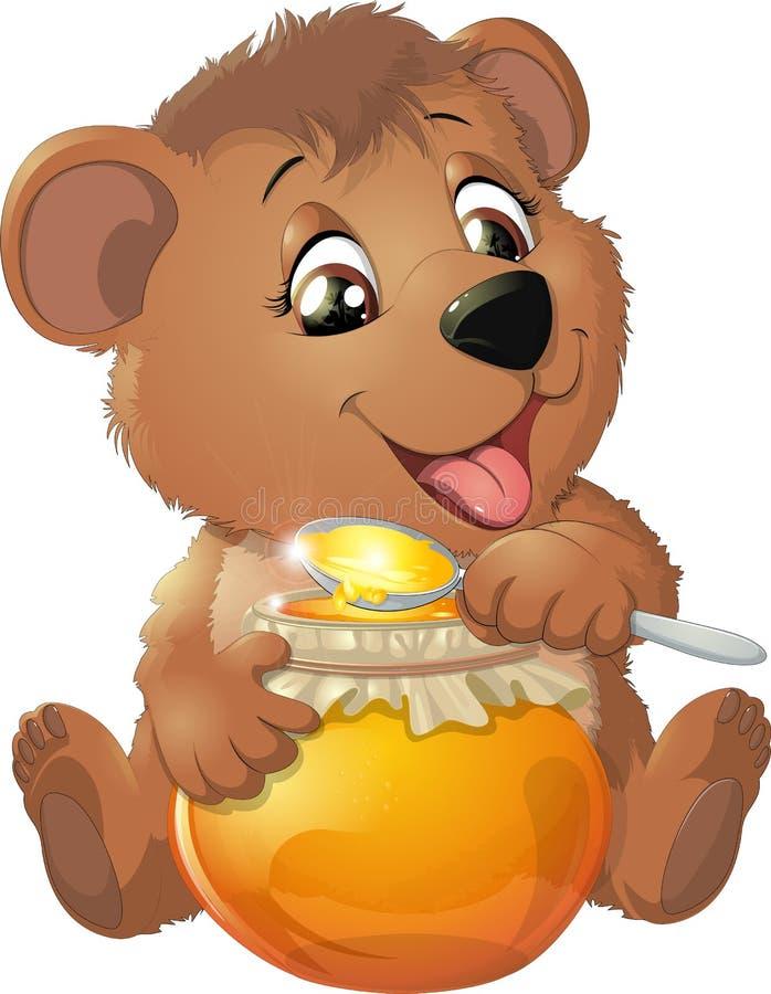 Милый медведь с медом бесплатная иллюстрация