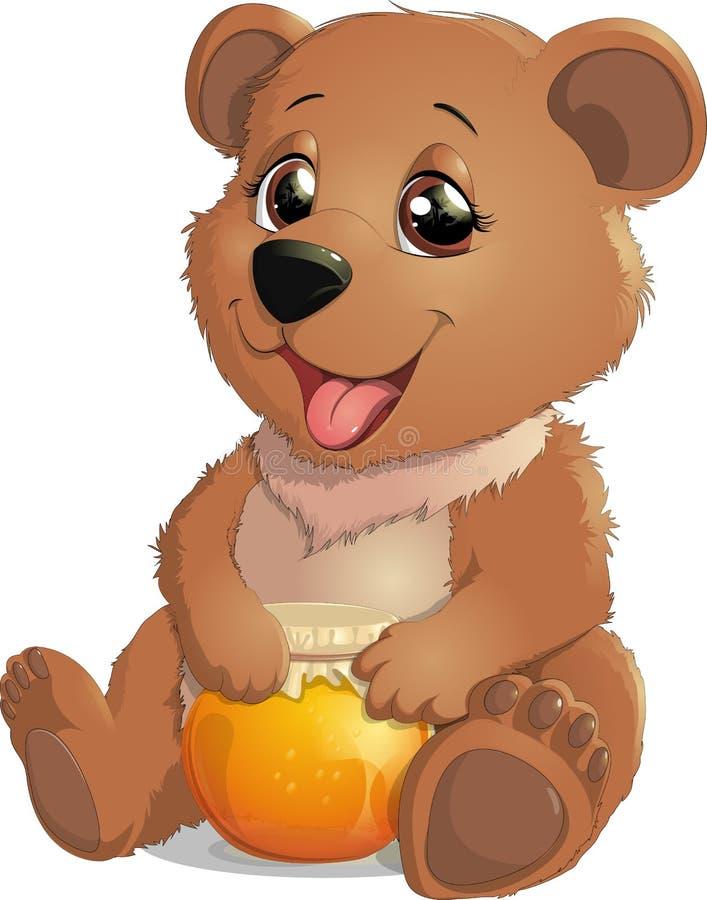 Милый медведь с медом иллюстрация штока