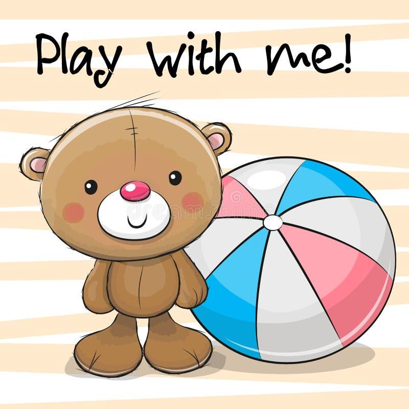 Милый медведь с шариком бесплатная иллюстрация