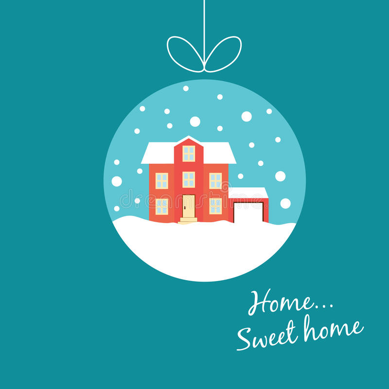 Милый дом зимы, покрытый при снег, вися на потоке, как иллюстрация штока