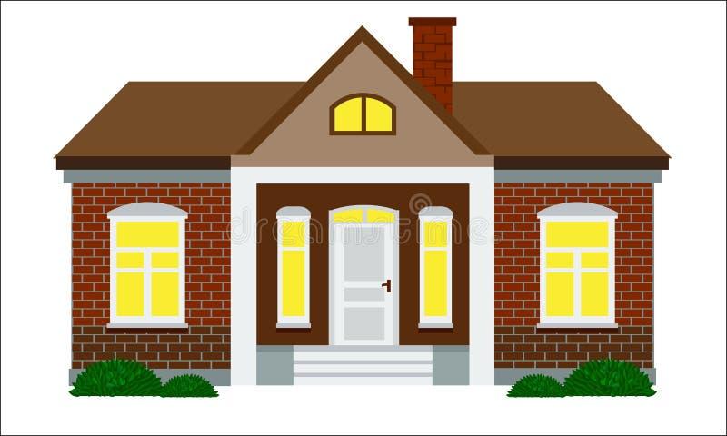 Милый дом с плоским вектором дизайна стиля цвета Кирпичная стена иллюстрация вектора