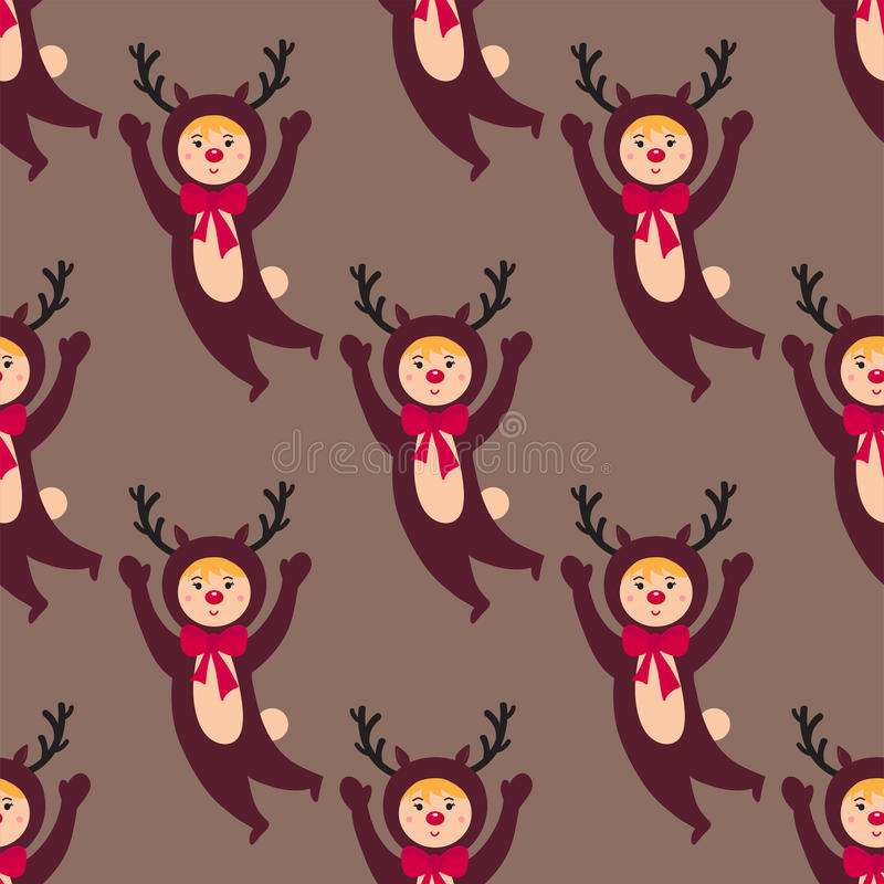 Милый олень ягнится нося праздники детей безшовной картины маленьких людей характеров вектора костюмов рождества жизнерадостные бесплатная иллюстрация