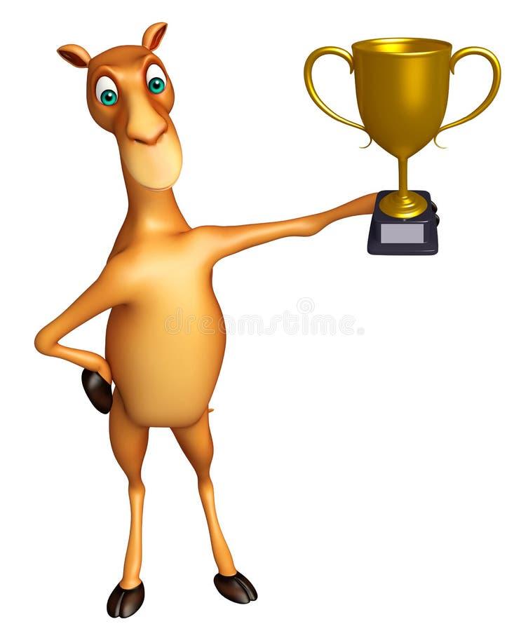 Милый персонаж из мультфильма верблюда с выигрывая чашкой иллюстрация штока