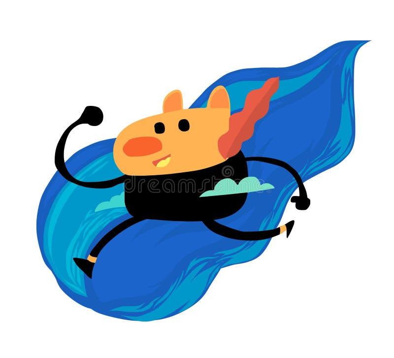 Милый персонаж из мультфильма в голубом облаке бесплатная иллюстрация