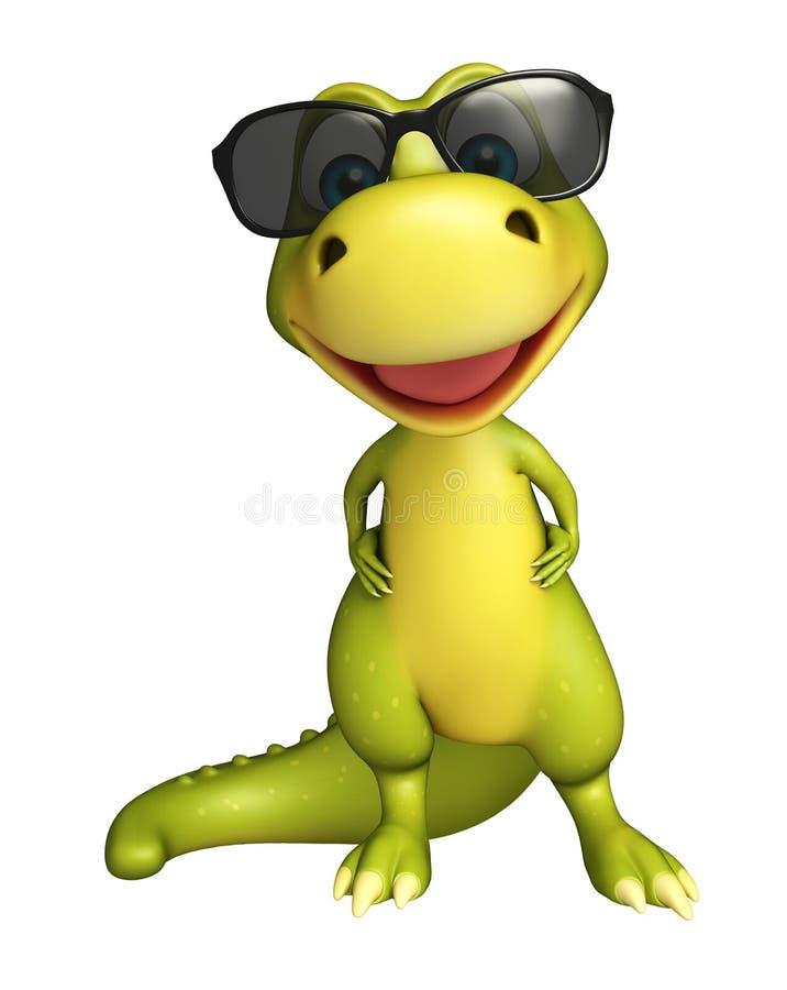 Милый персонаж из мультфильма динозавра с белой доской иллюстрация штока