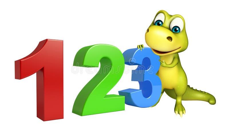 Милый персонаж из мультфильма динозавра с белой доской иллюстрация вектора