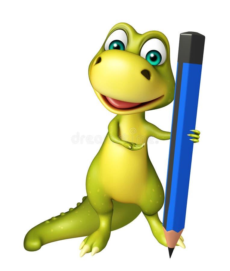 Милый персонаж из мультфильма динозавра с карандашем иллюстрация вектора