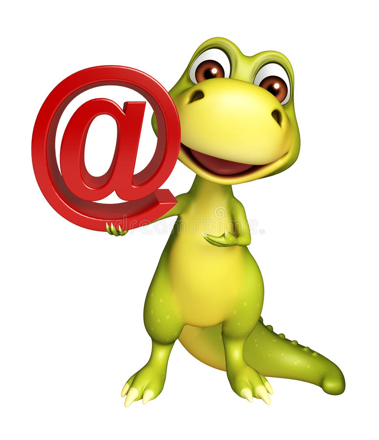 Милый персонаж из мультфильма динозавра с на знаком тарифа иллюстрация вектора