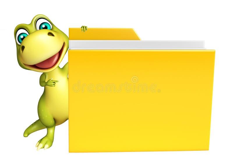 Милый персонаж из мультфильма динозавра с папкой иллюстрация штока