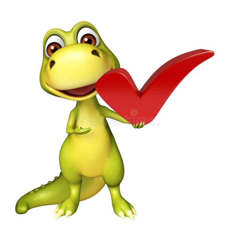 Милый персонаж из мультфильма динозавра с правым знаком иллюстрация вектора