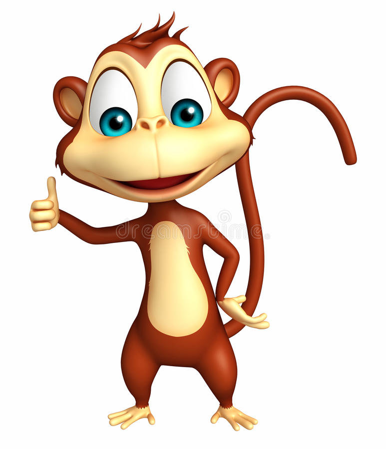 Милый персонаж из мультфильма обезьяны thumbs вверх иллюстрация штока