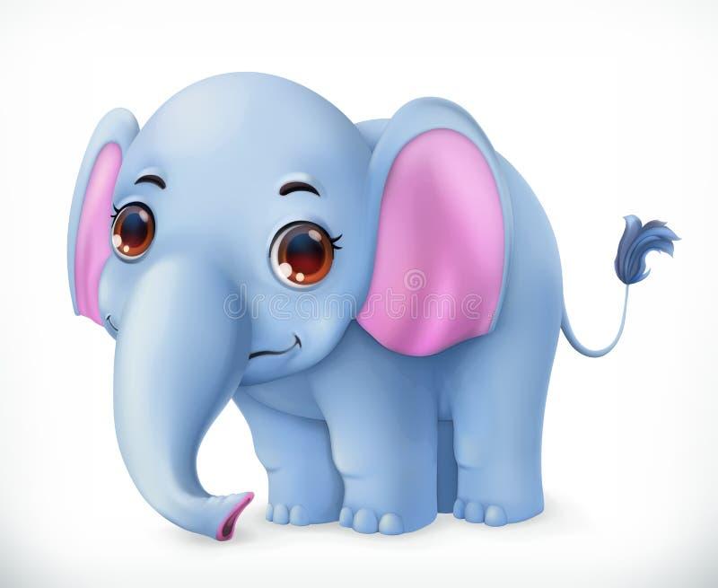Милый персонаж из мультфильма слона младенца Смешной значок вектора животных иллюстрация вектора