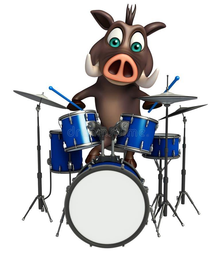 Милый персонаж из мультфильма хряка с барабанчиком бесплатная иллюстрация