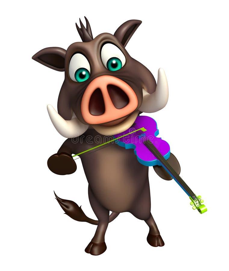 Милый персонаж из мультфильма хряка с скрипкой иллюстрация вектора
