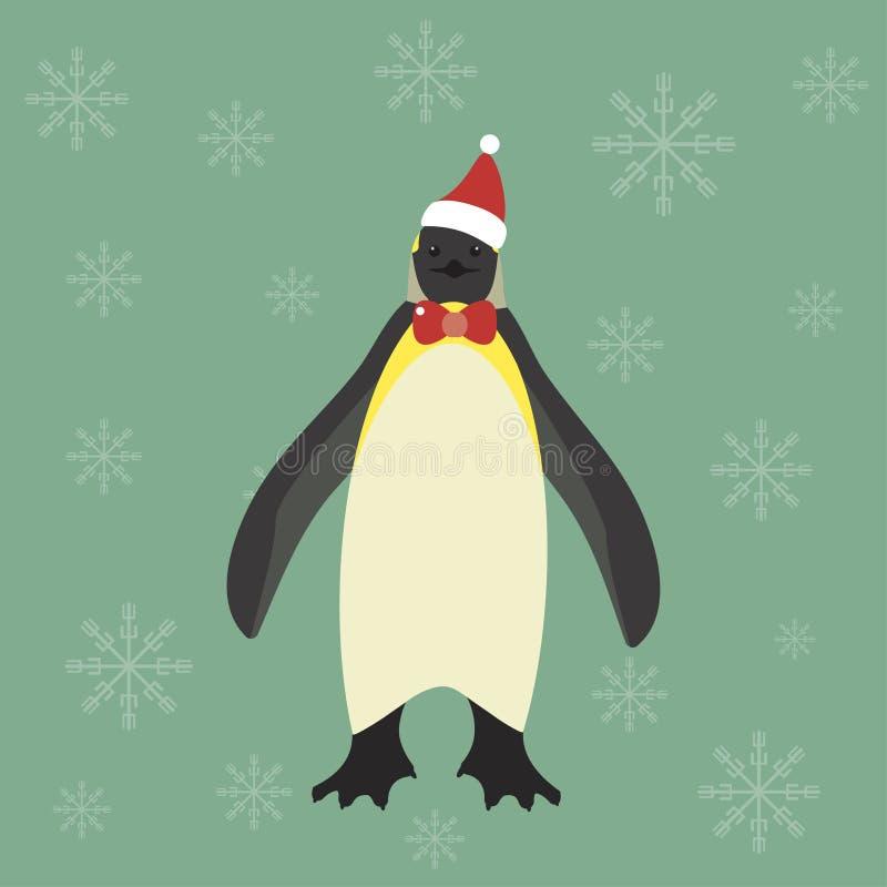 Милый пингвин короля с красной шляпой Санты иллюстрация вектора