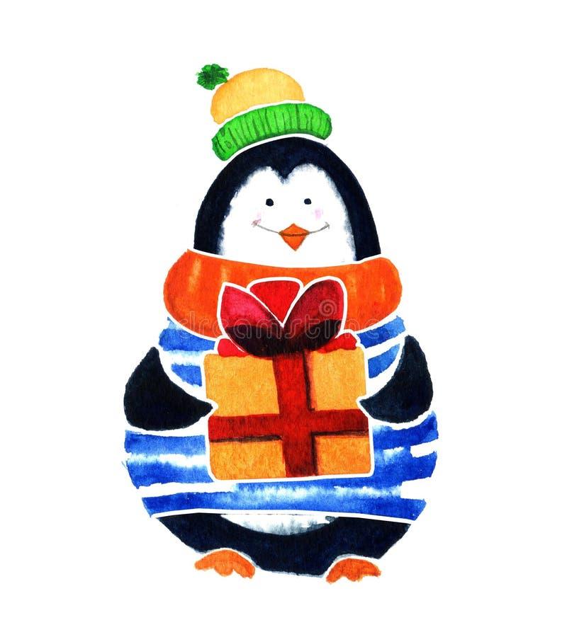 Милый пингвин с подарком Младенцы и маленькие ребеята шаржа Иллюстрация акварели изолированная на белой предпосылке иллюстрация вектора