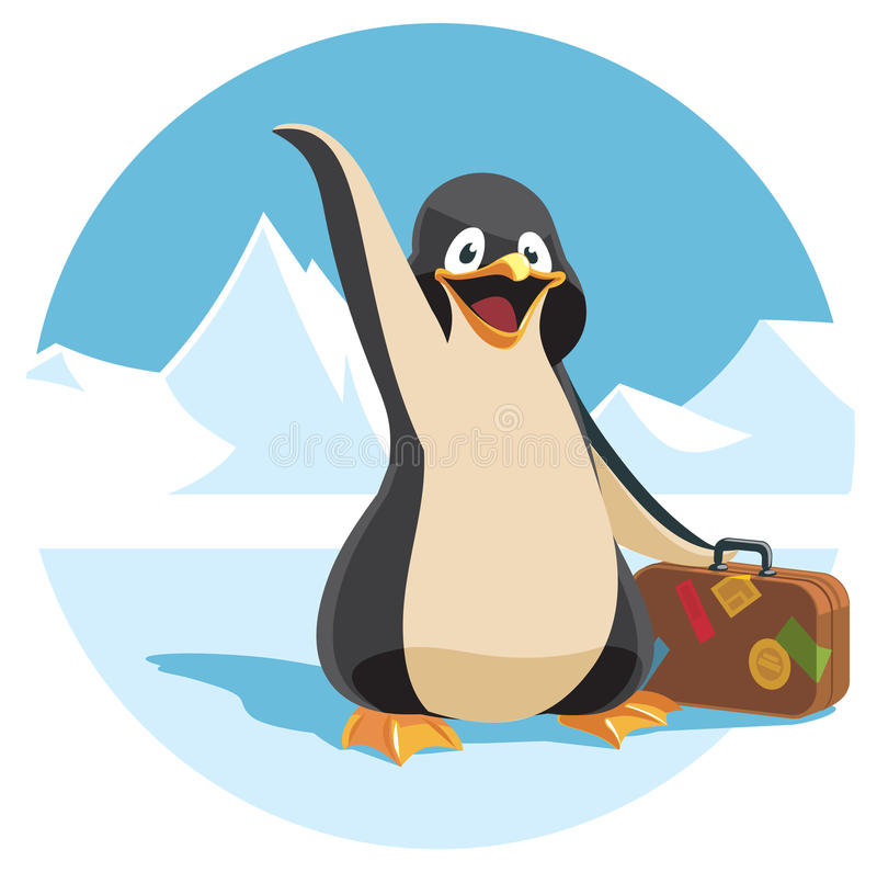Милый пингвин шаржа держа чемодан иллюстрация вектора