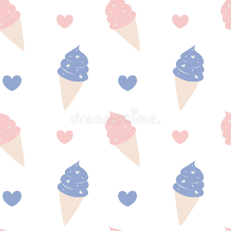 Милый пинк мороженого шаржа и голубая симпатичная безшовная иллюстрация предпосылки картины иллюстрация штока