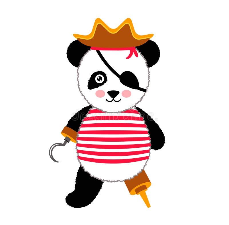 Милый пират панды стоя с шляпой и крюком Иллюстрация вектора изолированная на белизне бесплатная иллюстрация