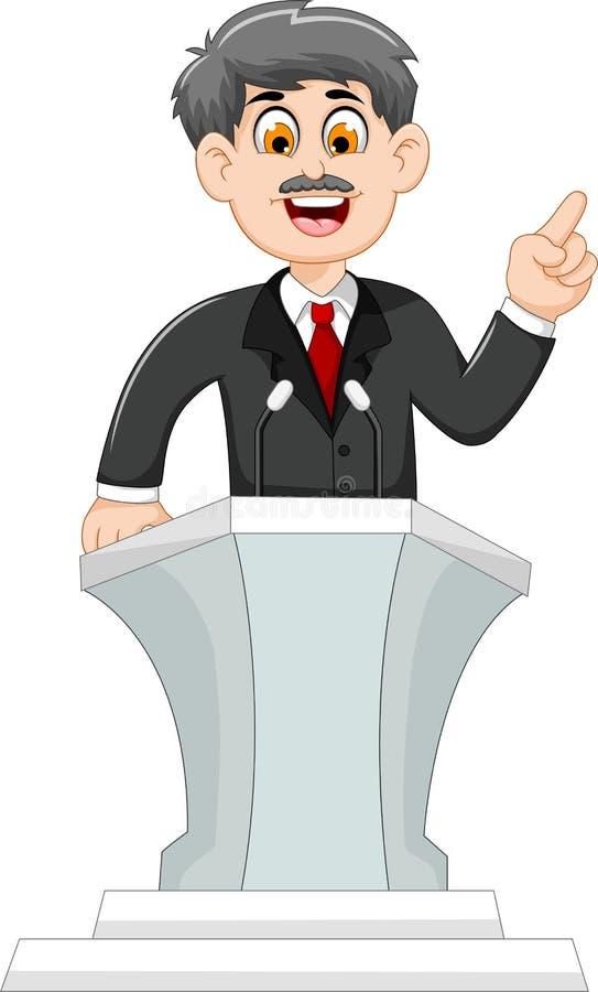 Милый политик шаржа говоря за подиумом бесплатная иллюстрация