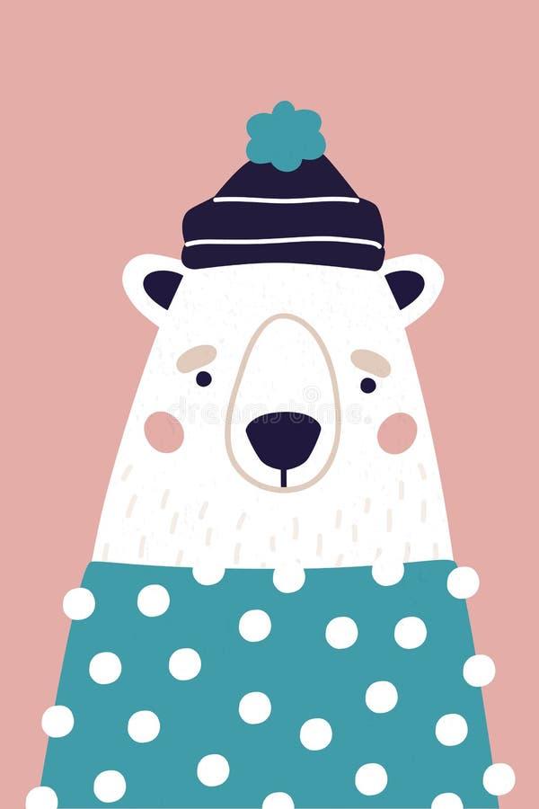 Милый полярный медведь в шляпе и свитере на розовой предпосылке Вертикальная поздравительная открытка Красочная иллюстрация для о иллюстрация вектора
