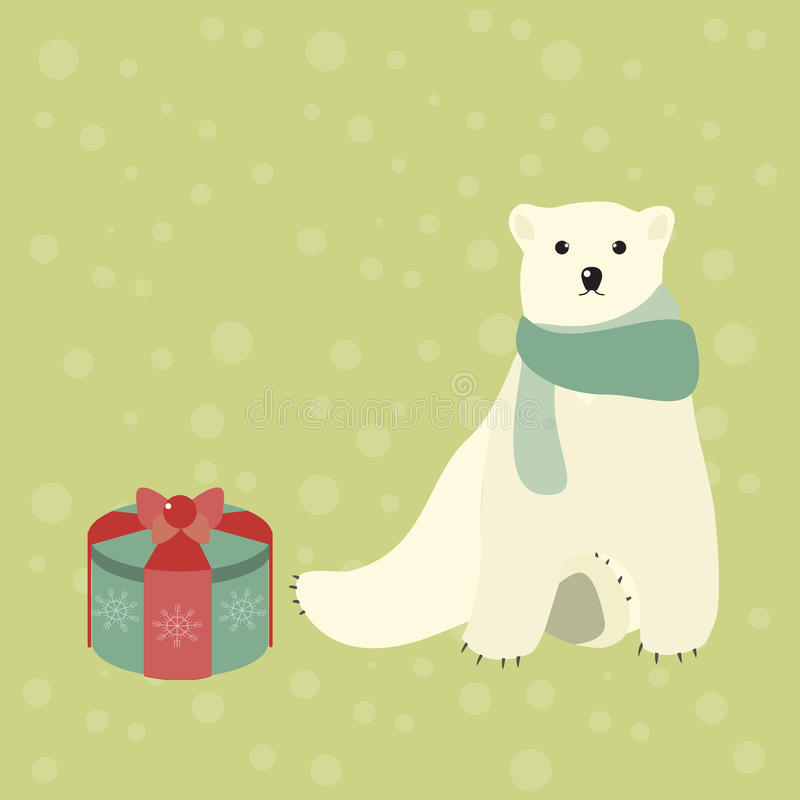 Милый полярный медведь и подарок рождества бесплатная иллюстрация